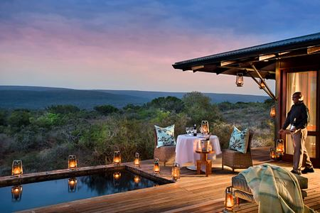 Sunset view from Ecca Lodge suite terrace at Kwandwe South Africa