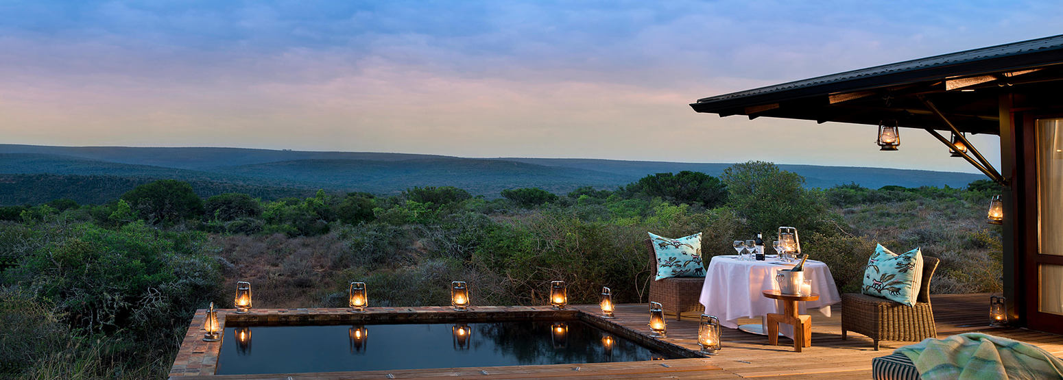 Evening scene across the bushveldt from Ecca Lodge suite at Kwandwe South Africa