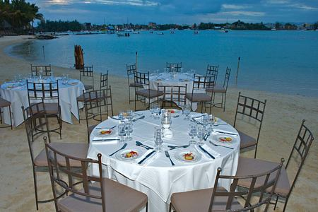 Evening dining on the beach at Le Mauricia Mauritius