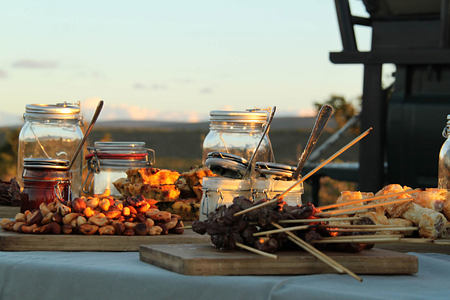 Food provided at a Game Drive Stop at Kwandwe South Africa