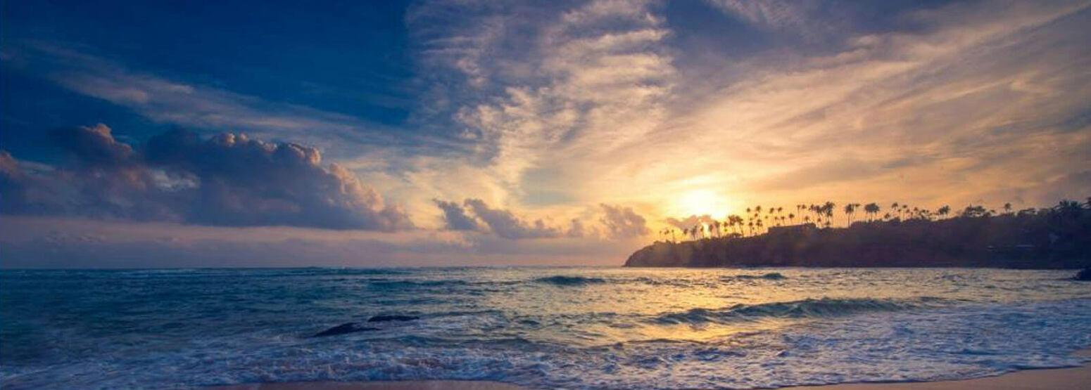 Headland at sunset at Cape Weligama Sri Lanka