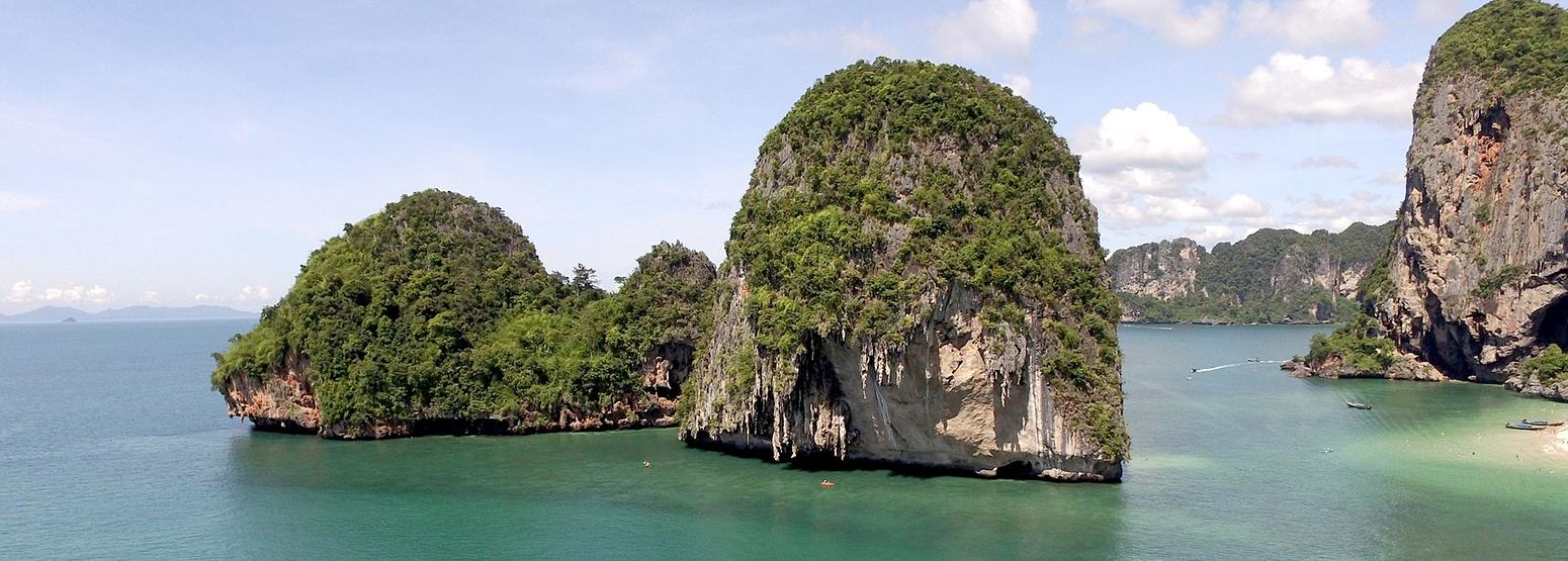 Beautiful limestone outcrops off Krabi Thailand