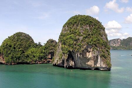 Beautiful limestone outcrops off Krabi Thailand