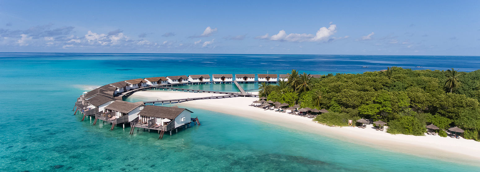 Low angle aerial view of reethi beach resort maldives