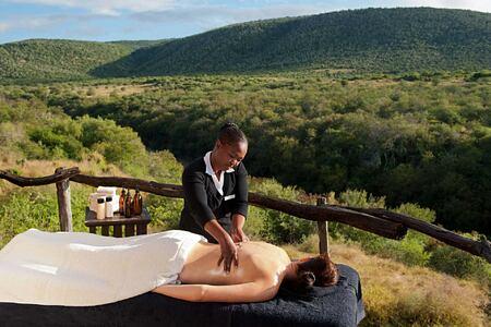 Massage with panorama of the bushveldt at Kwandwe South Africa
