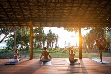 Meditating at sunrise at Talalla Retreat Sri Lanka