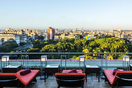 Mirador swimming pool overlooking Parque Fraternidad at Hotel Saratoga Cuba