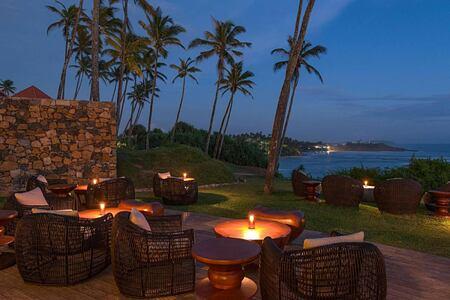 Moon bar deck at night at Cape Weligama Sri Lanka