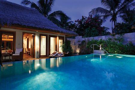 Night at a villa at Baros Maldives
