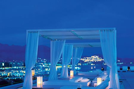 Night time on Private terrace with cabanas at SHA Wellness Spain