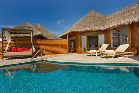 Outside pool at Baros Maldives