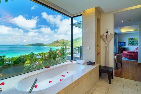 Panoramic view from Twin Bath villa at Raffles Praslin Seychelles