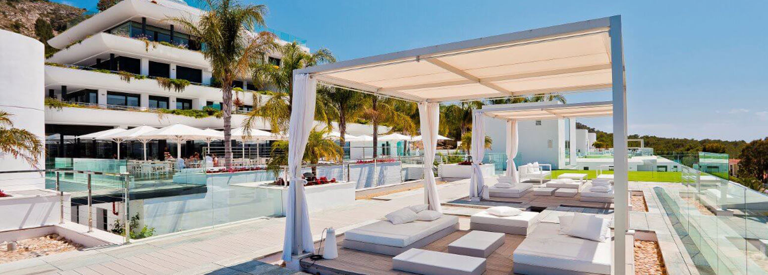 Pool and cabanas at SHA Wellness Spain