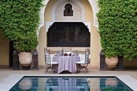 Pool dinner at Villa des Oranges Morocco
