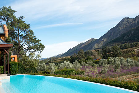 Pool with views of mountains at la Residence South Africa