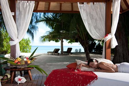 Relaxing on a Sun Bed at Denis Private Island Seychelles