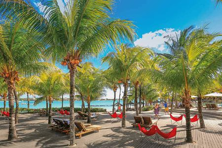Relaxing beneath palm trees at Le Mauricia Mauritius