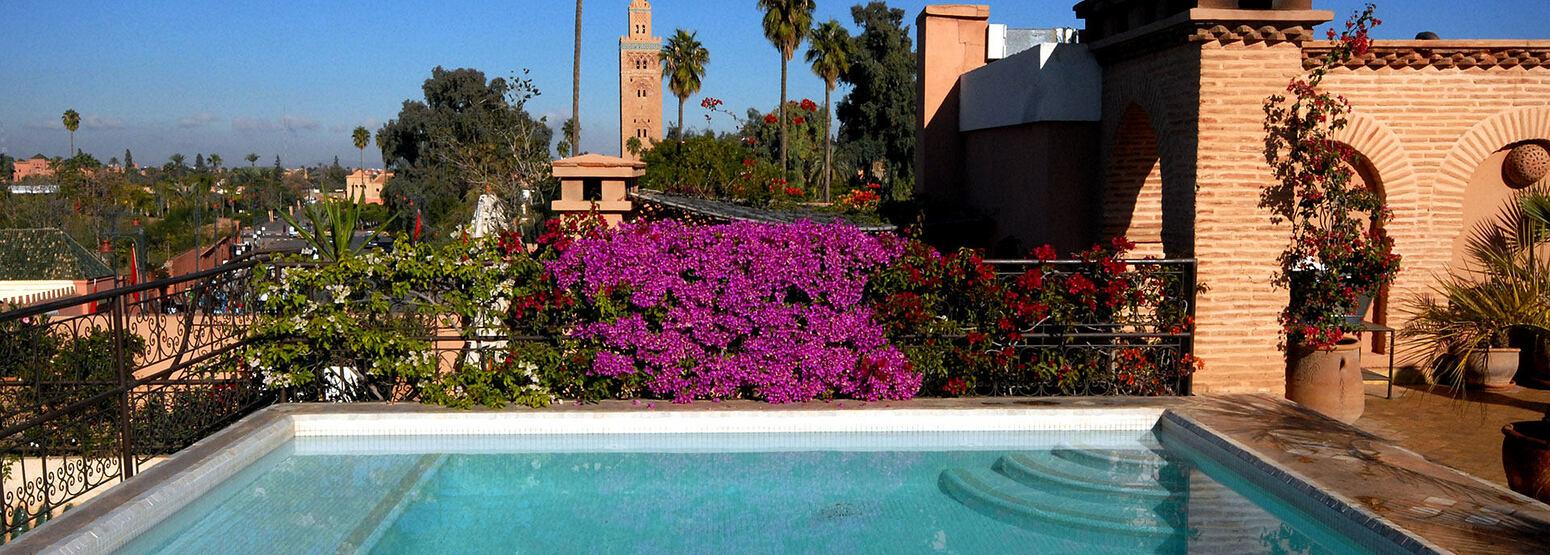 Rooftop pool at Villa des Oranges Morocco