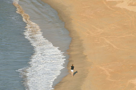 Aerial view of running on Om Beach at Swa Swara India