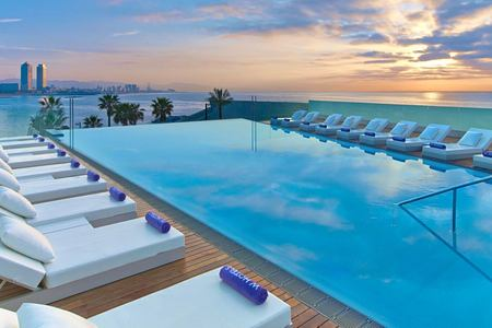 Sun deck and pool at W Barcelona Spain