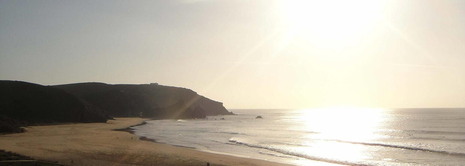 Sunset across sea at Monte Velho, Portugal