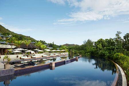 Infinity swimming Pool at Raffles Praslin Seychelles