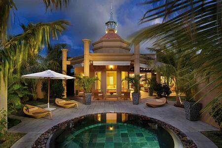 Twilight scene of pool villa at Le Mauricia Mauritius