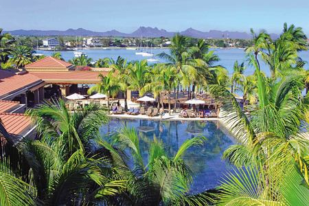 View across the pool and the bay at Le Mauricia Mauritius