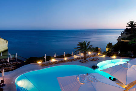 Dusk over the pool at Vilalara Thalassa Resort, Portugal