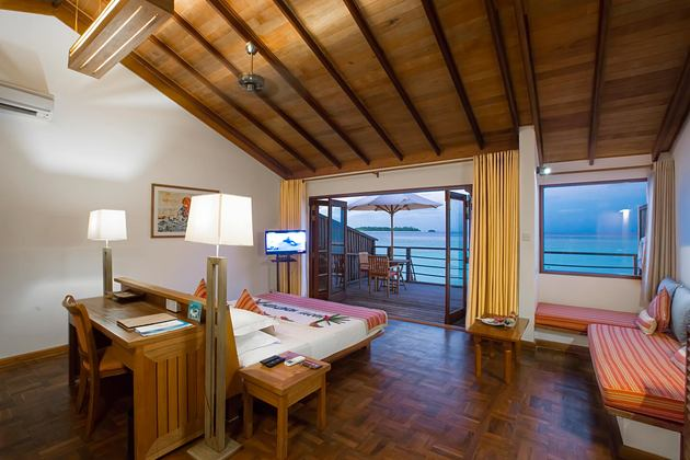 Water Villa Interior at reethi beach resort maldives