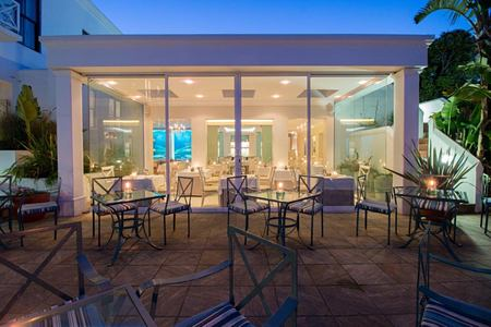 seafood restaurant terrace at night at the plettenberg South Africa