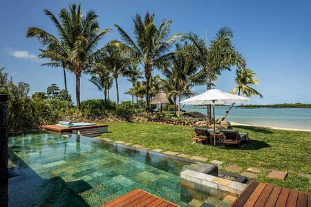 villa pool overlooking sea at Anahita Mauritius