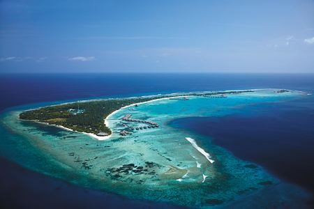 Aerial view island at Shangri la Villingili Maldives