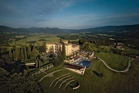 Aerial view of Castello di Casole Italy
