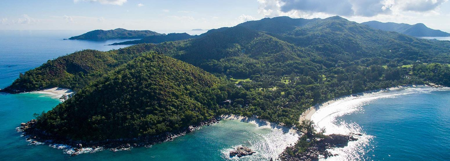 Aerial view of Constance Lemuria Resort Seychelles