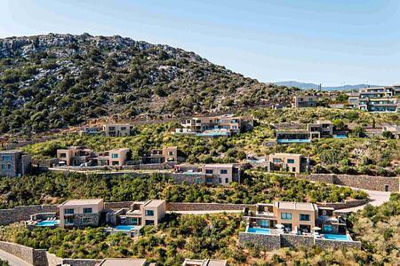 Aerial view of Daios Cove Crete Greece