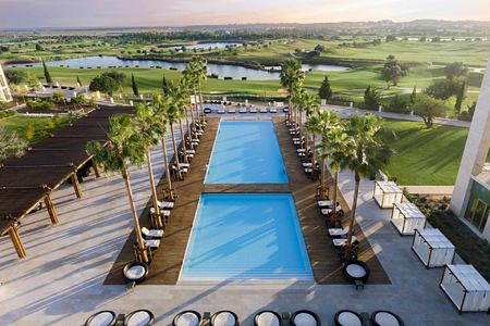 Aerial view of main pool at Anantara Vilamoura Algarve Portugal