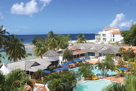 Aerial view of pools and hotel at Windjammer Landing St Lucia