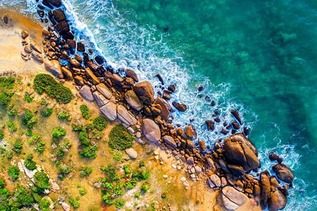 Aerial view of the beach at Chena Huts Sri Lanka