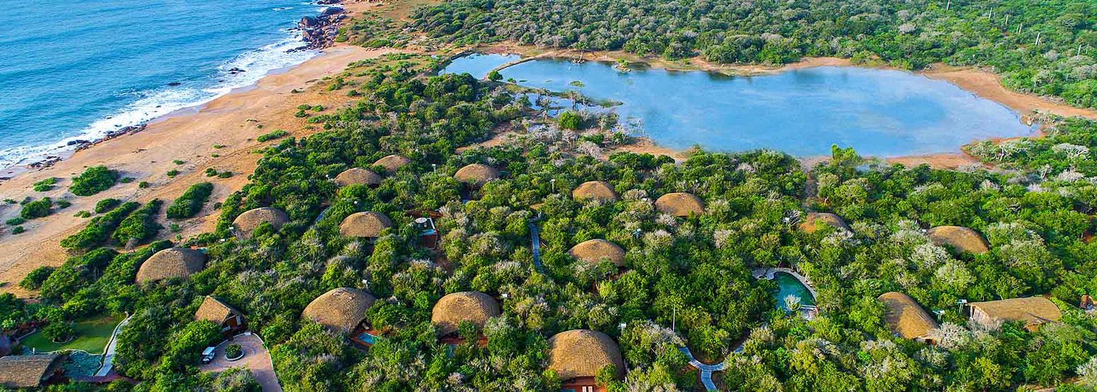 Aerial view of the complex at Chena Huts Sri Lanka
