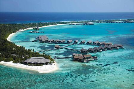 Aerial view of villas at Shangri la Villingili Maldives