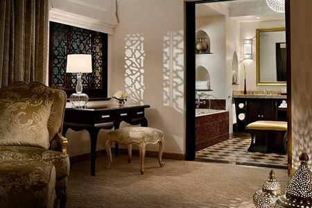 Arabian Court Prince Suite Bedroom Overlooking Bathroom at The Royal Mirage Dubai