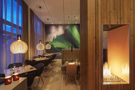 Aurora Restaurant at night at Icelandair Hotel Iceland