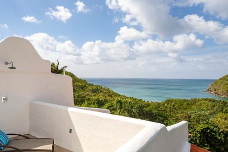 Balcony and view of sea at Windjammer Landing St Lucia