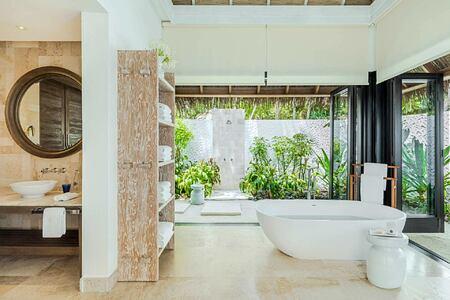 Beach Villa Bathroom at Como Maalifushi Maldives