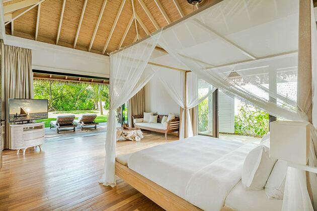 Beach Villa Master Bedroom at Como Maalifushi Maldives