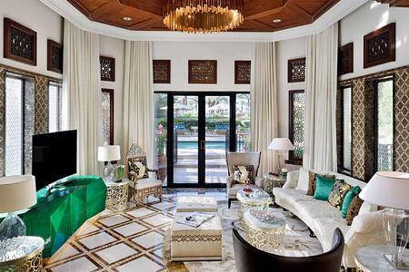 Beach garden villa living room at The Royal Mirage Dubai