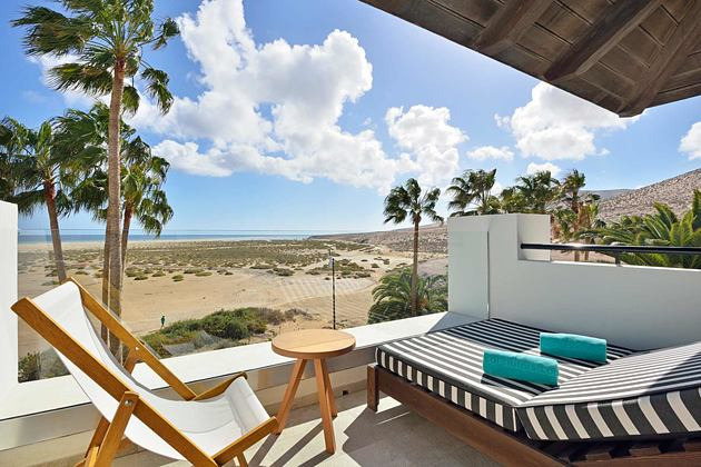 Beach view from Junior Suite balcony at Sol Beach House Fuerteventura