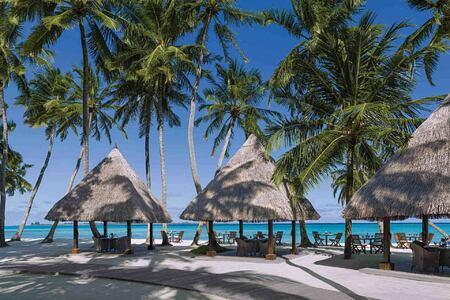 Beachfront shaded at Shangri la Villingili Maldivestables