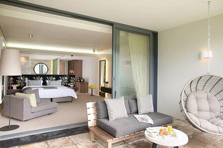 Cabernet room terrace at Mont Rochelle Franschhoek South Africa